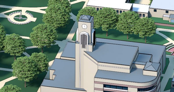 A digital rendering of the Dean B. Ellis Library